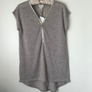 New Soft Brown Zip Tunic Top Size Small